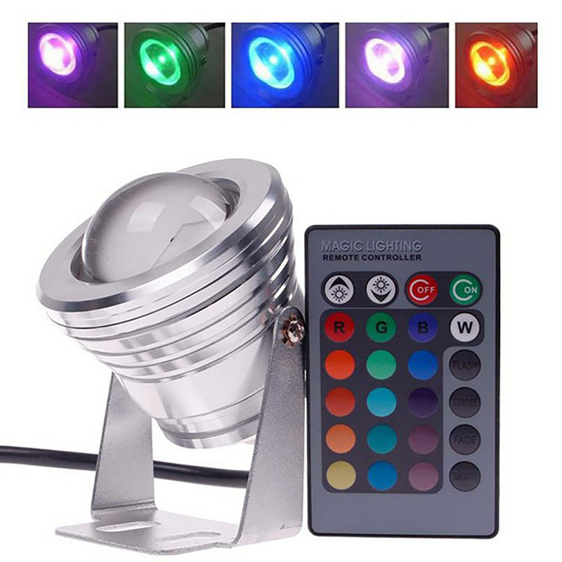 10w Led Ip67 Underwater Spot Light Garden Pool Pond Aquarium Lamp Remote Led Lamps