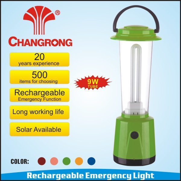 Rechargeable and emergency led solar lamp with 9W fluorescent tube