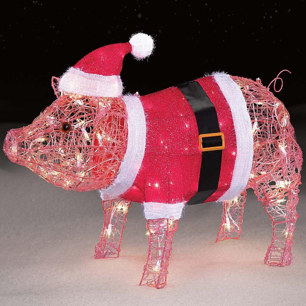 get quotations christmas 27 pre lit acrylic pig in santa suit outdoor holiday yard decoration - Pig Christmas Decorations Outdoors