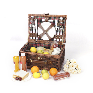 Free Sample Wholesale Woven Fruit Bread Hanging Storage Suitcase Rattan Wicker Willow Picnic Basket For 4 Persons