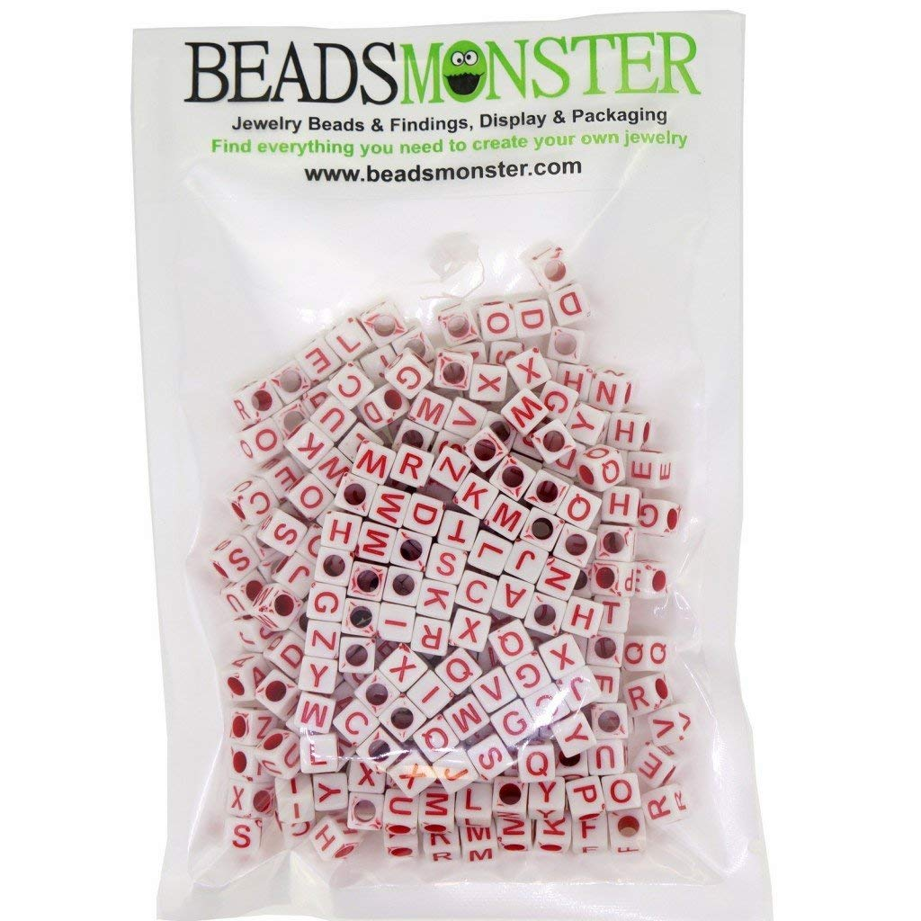 Randomly Mixed Acrylic Alphabet Beads, 6mm Cube, 3mm Hole, 50g Approx. 300pcs for Beading Supplies for Jewelry DIY Making