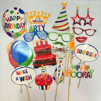 Kids Birthday Return Gift Balloon Cake Photo Booth Props With Wood Sticks For Friends