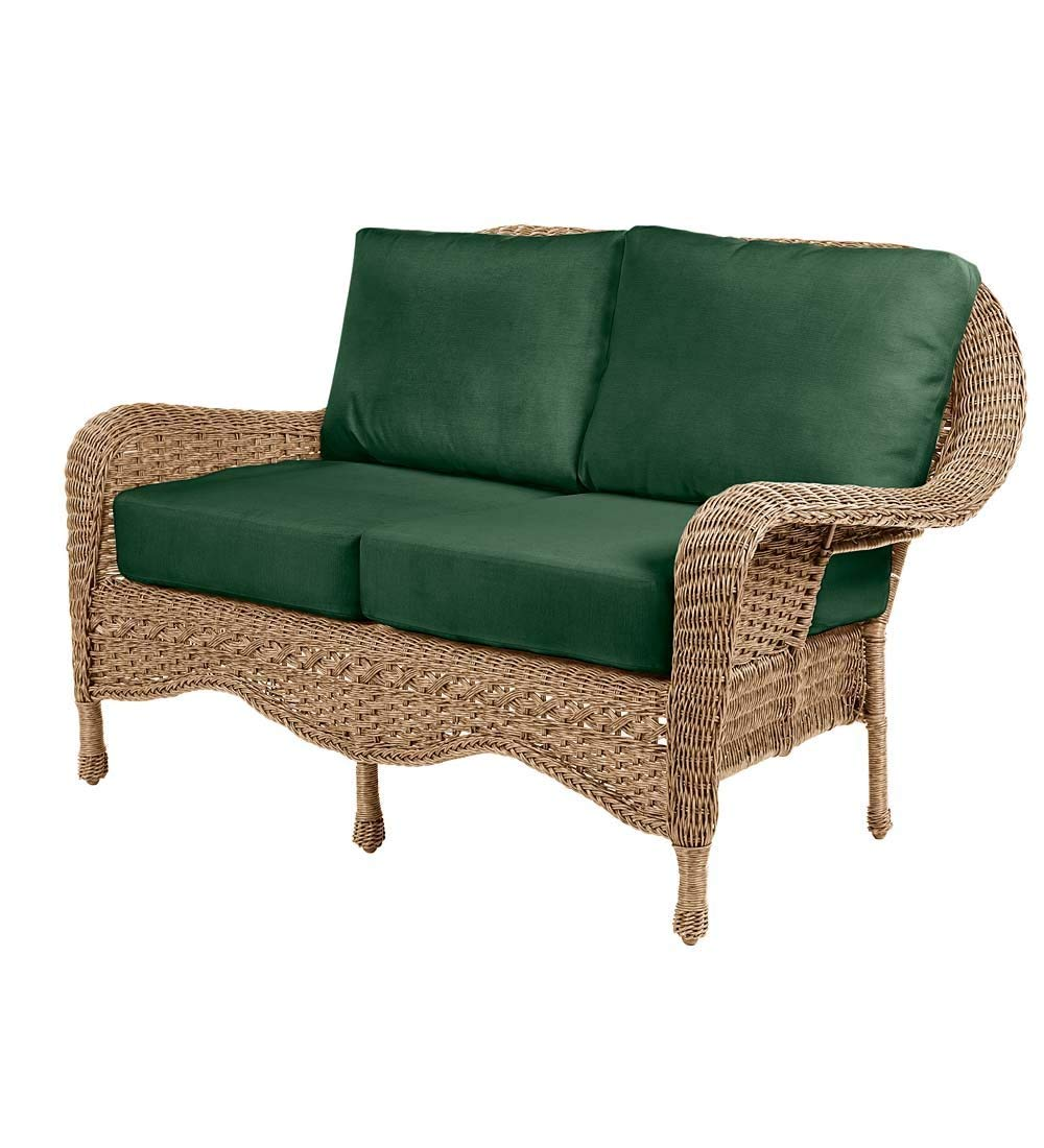 Prospect Hill Outdoor Patio Deep Seating Love Seat Furniture - Includes Cushions - All Weather Woven Resin and Aluminum Frame, 54.75 W x 30 D x 35.5 H - Driftwood with Forest Green Cushions