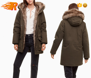 Wholesale Womens Hoody Outdoor Winter Coat Women Military Faux Fur Lined Parka