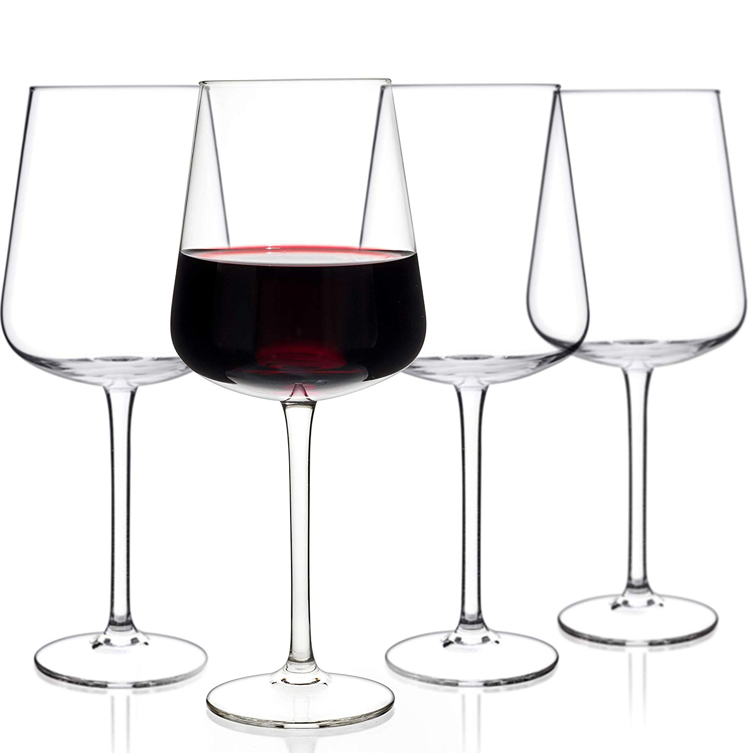 Luxbe - Crystal Wine Glasses, Set of 4 - Handcrafted Red or White Wine Glass - 100% Lead Free Crystal Clear Glass - Professional Wine Tasting - Burgundy - Pinot Noir - Bordeaux - 16-ounce