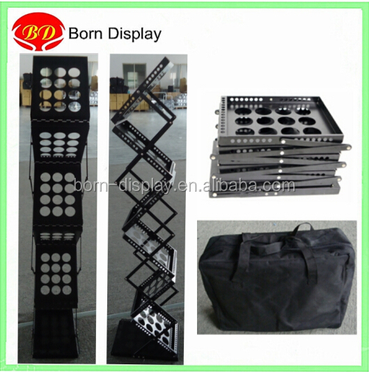 Collapsible iron A4 foldable brochure holder stand for office display rack