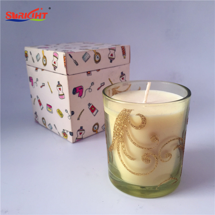 Glitter Gold Flower Clear Glass Jar Scented Candles with Custom Paper Box Gifts