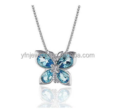 925 Sterling Silver Blue Topaz Butterfly Necklace with 18 Inch Box Chain