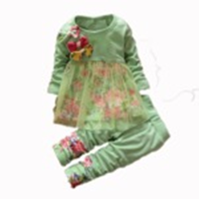 Retail 2015 Autumn Fashion children girl flower clothe sets Big Bow Infants Nice Dresses pants suit