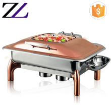 Restaurant supplies 9L visual window stainless steel rose gold chafing dish buffet stainless steel food warmer