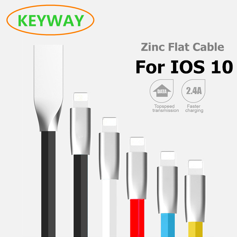 2017 gran Hot 2.4A plana zinc aleación 8 PIN a USB data cable cargador para iPhone 7 6 S/ 6 más 5SE 5S 5C 5 iPod nano ipadair