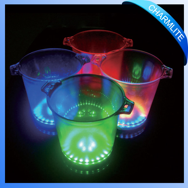 Hot sell champagne plastic led ice bucket for beer wholesale factory
