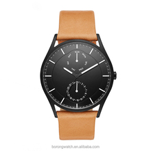Day/date function 5ATM waterproof quartz movement stainless steel luxury fashion men watch with leather strap