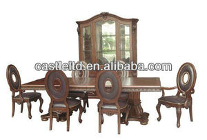 Unique Original Lifestyle Luxury Cherry Carved Dining Set with Buffet and Hutch & High End Dining Table Set
