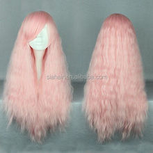 Long Pink Yaki Corn Perm Lolita Synthetic Wig, Young Woman Halloween Cosplay Party Wig
