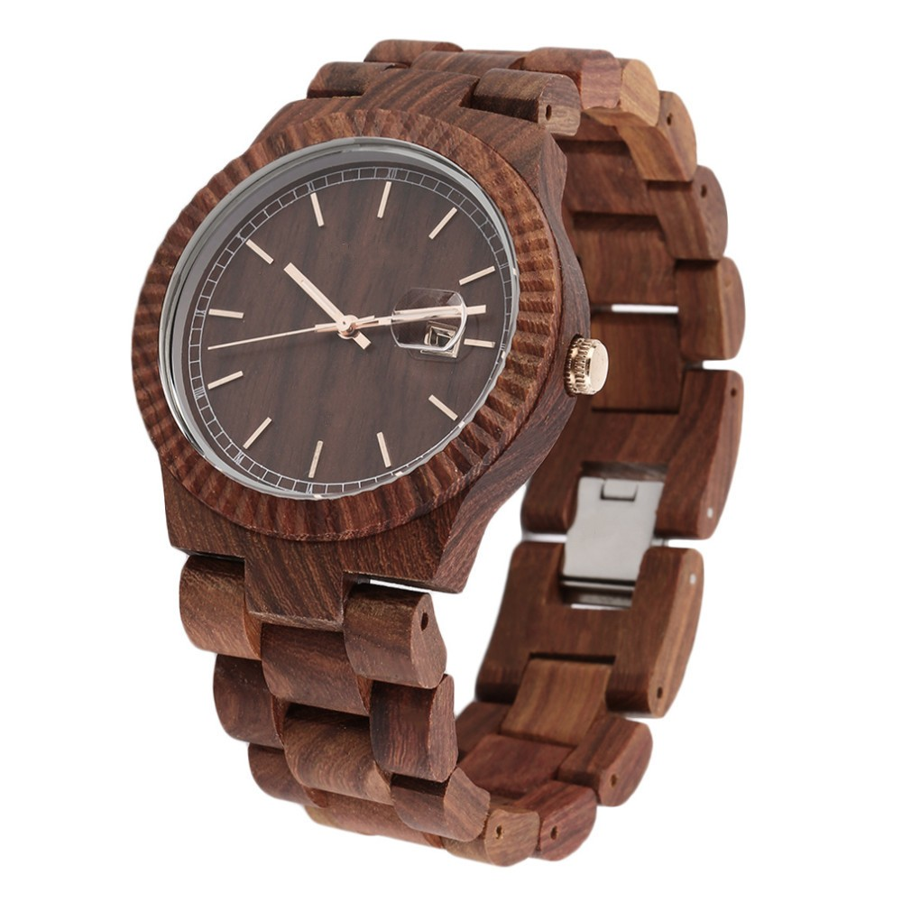 Luxury Watch Women Full Natural Wood Round Wristwatch Quartz Analog Wooden Watches Gift Hot 2017