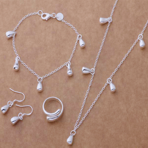 New style fashion jewelry set Plated 925 Silver Set Bracelet Necklace Earrings Rings Drop of water