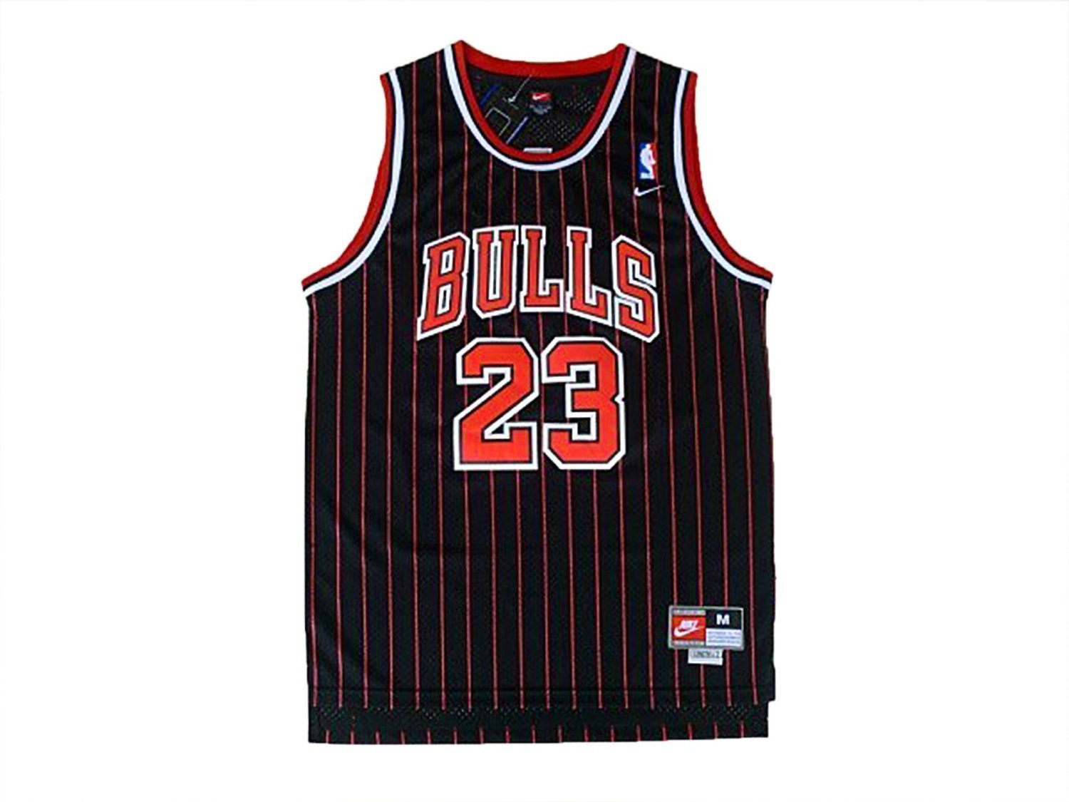 61eac8422 Michael Jordan Chicago Bulls Jersey Men #23 Throwback Swingman Black &  Stripes Sewn Stiched Size