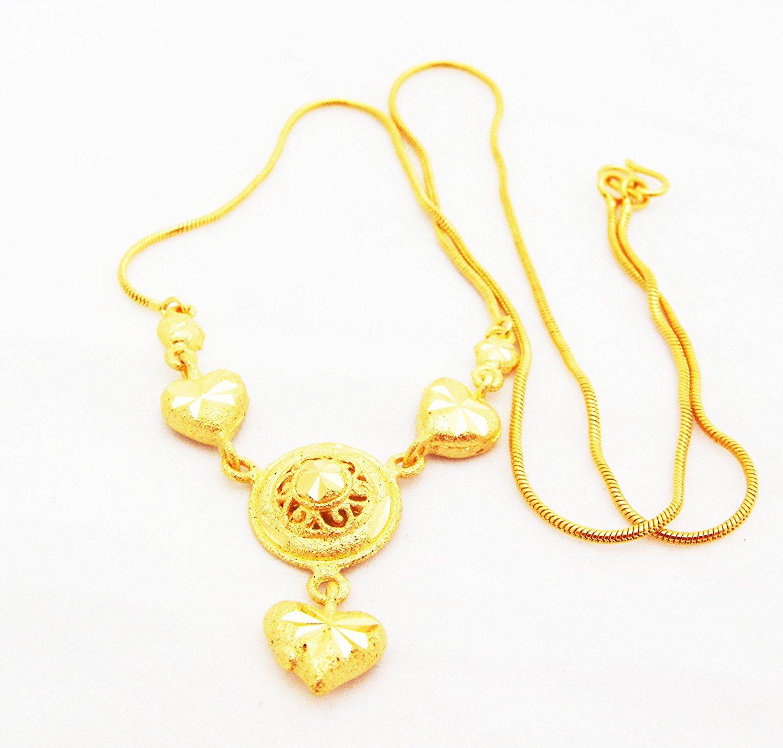 22k 23k 24k Thai Baht Yellow Gold GP Necklace Jewelry