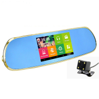 5 Inches Touch Screen 2 Car Cameras GPS 3G WIFI Car Rearview Mirror DVR