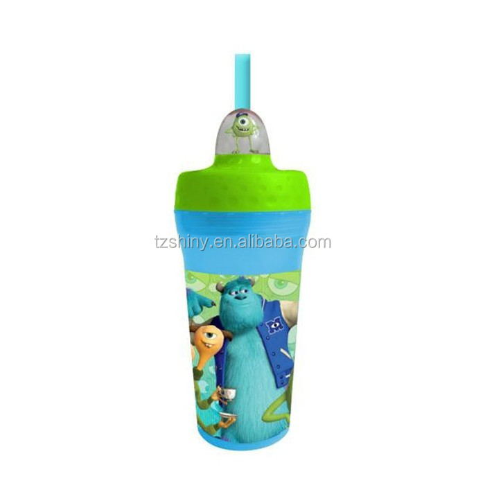 Fancy New Drinkware Child Birthday Gift 3D Printing Plastic Drink Bottle with Straw
