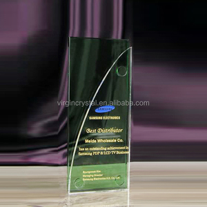 Unique design business green rectangle crystal glass award plaque