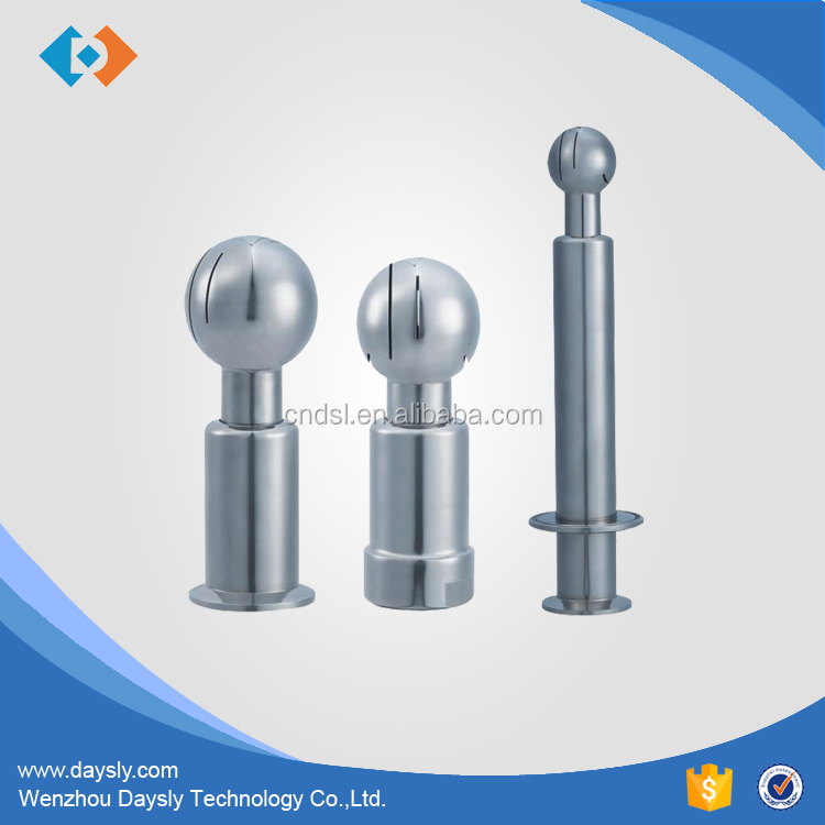 Sanitary stainless steel rotary thread clamped spray cleaning ball
