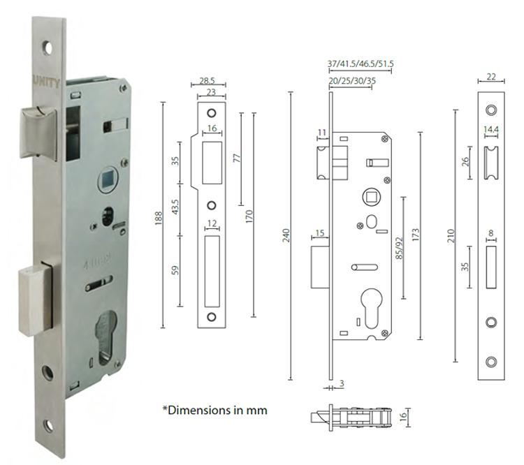 Narrow stile mortice door lock with 20mm backset for profile door