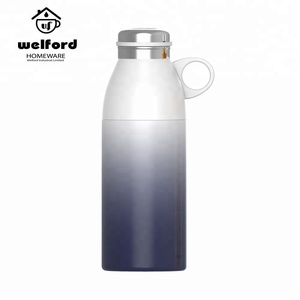 White And Purple Vacuum Flask Stainless Steel Water Bottle Kids Thermos With Strainer