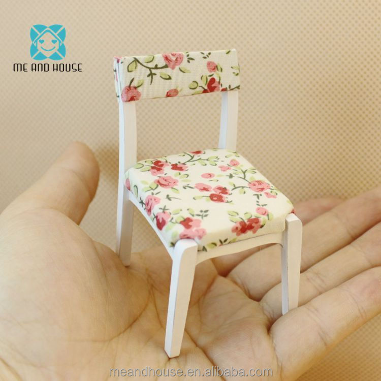 1:12 Doll house miniature wooden furniture white floral stool pastoral style chair