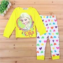 2015 Character children's pajamas Set Princess Elsa Anna pijama infantil menino Kids Sleepwear Pajamas Home Clothing WI30017