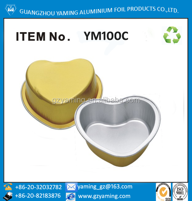 foil containers smoothwall 100ml heart shape aluminium foil pudding cup ice cream cup pet container