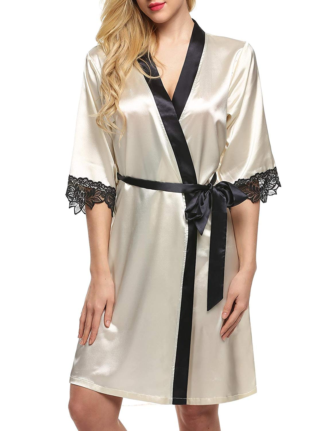 2979ebf7fc Get Quotations · CINUE Silk Nightgown Terry Cloth Robe Silk Pajamas Womens  Robes
