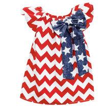 Платье на бретельках с бантом и принтом звезды для маленьких девочек 4 июля летняя одежда в полоску для маленьких девочек праздничное плать...(Китай)