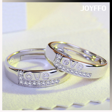 Fashion Silver Polish Adjustable Opening Couple Lover Rings for Men and Women