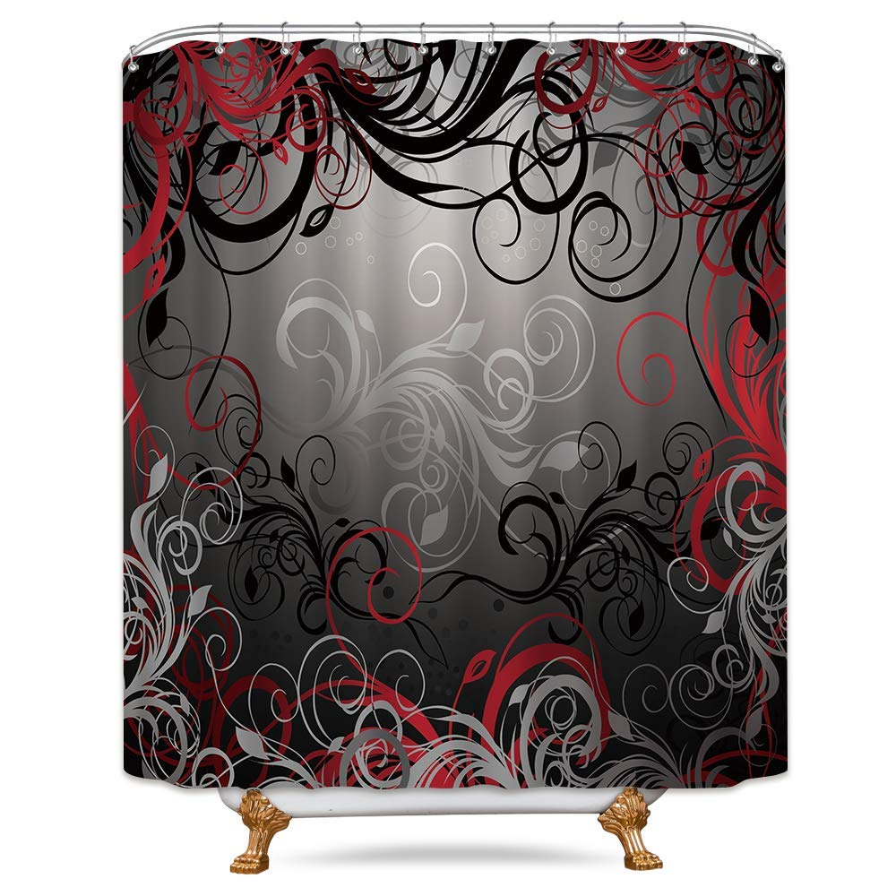 Riyidecor Red and Black Shower Curtain Free Metal Hooks 12-Pack Leaf Swirl Floral Modern Forest Heavy Duty Decor Fabric Set Polyester Waterproof Fabric for Bathtub 72x72 Inch