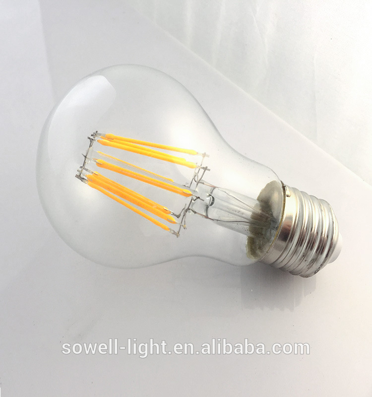 A60 Filament Style A shape E27 transparent glass LED Light Bulb
