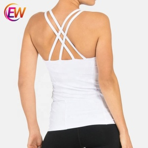 High Quality Sexy Girl Strappy Cross Back Layer Tank Top