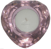 Pink Diamond Cut Heart Glass Crystal tealight Candle Holder MH-1981