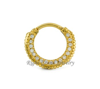 37a44ca84 Unique Septum Clicker Gold Plated Septum Fancy Nose Ring Jewelry ...