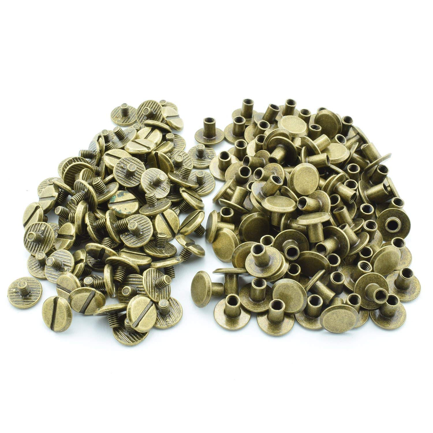 100 Pack M4x6 Bronze Chicago Screws Metal Accessories Carbon Steel Nail Rivet Chicago Button For DIY Leather Decoration Document Book Album Bookbinding Round Flat Head Stud Screw