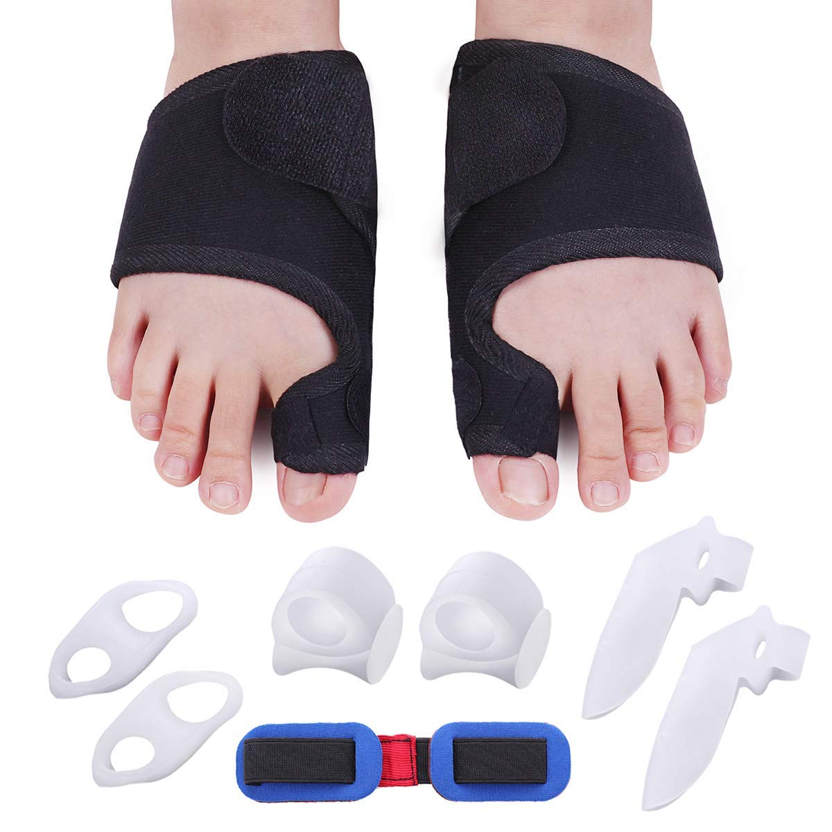 Bunion Corrector Bunion Relief Kit Bunion Splints Gel Toe Straightener Protect Separator Sleeves Toe Separators for Hallux Valgus Day Night Time Support for Women Men
