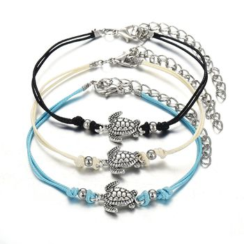 2019 Bohemian New Retro 3 Layers Wax Rope Turtle Foot Chain Beach Anklet