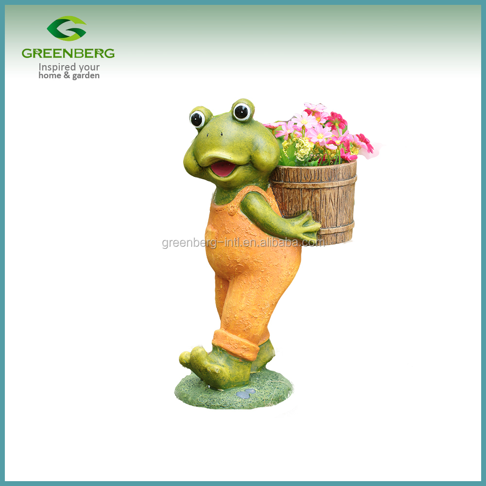 hot selling amazon garden decoration outdoor resin frog flower pot