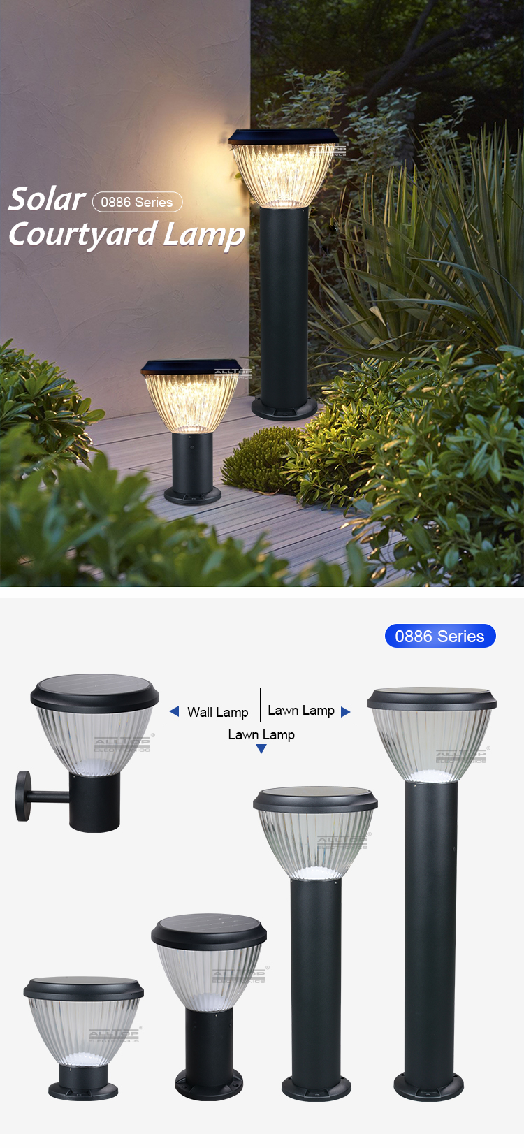 ALLTOP High quality new classic ip65 5w outdoor lighting street solar led garden light
