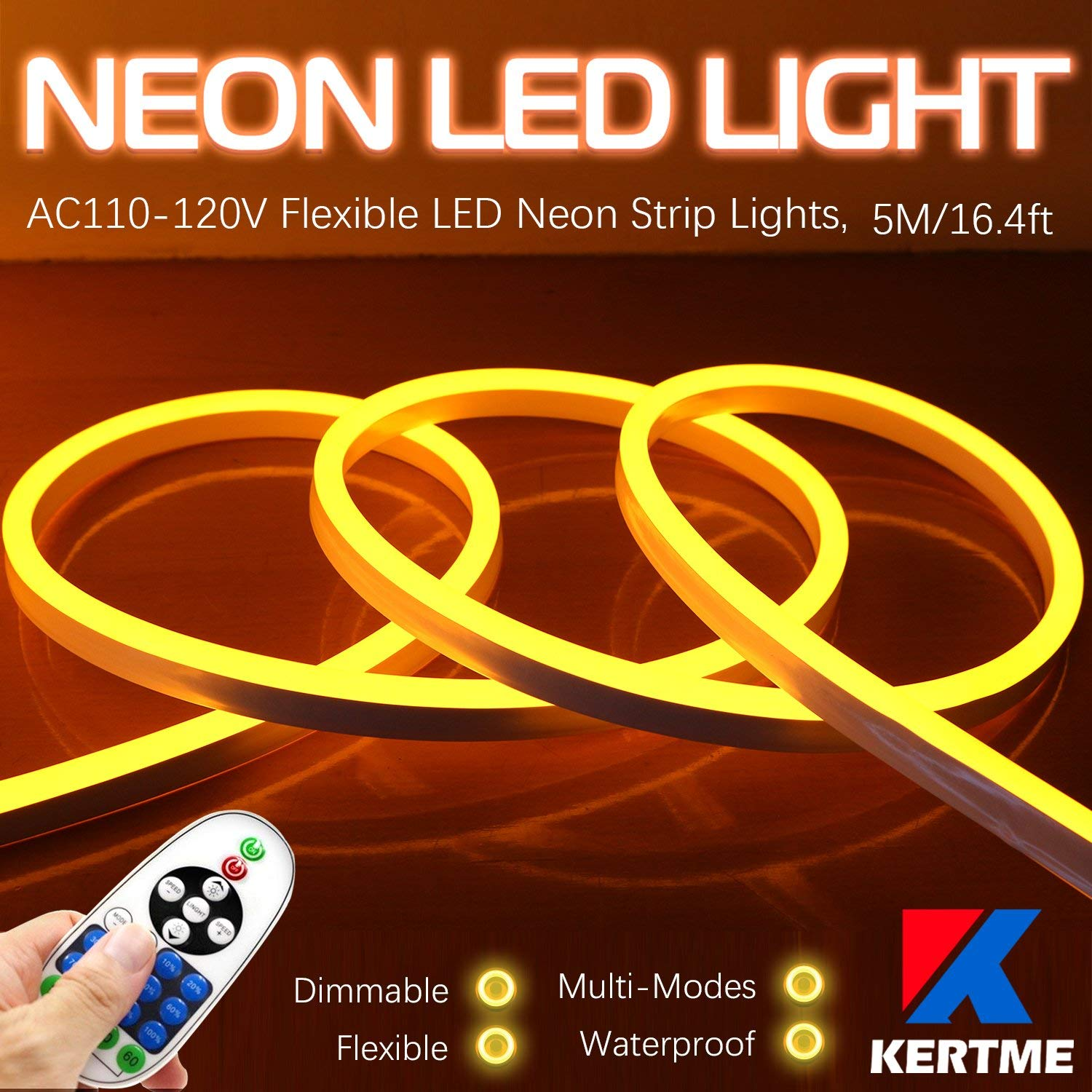 KERTME Neon Led Type AC 110-120V LED NEON Light Strip, Flexible/Waterproof/Dimmable/Multi-Modes LED Rope Light + 23 Keys Remote for Home/Garden/Building Decoration (16.4ft/5m, Golden Yellow)