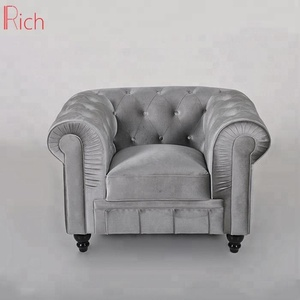 gray Home Furniture Modern Silver Velvet Couch living room Luxury Chesterfield Sofa