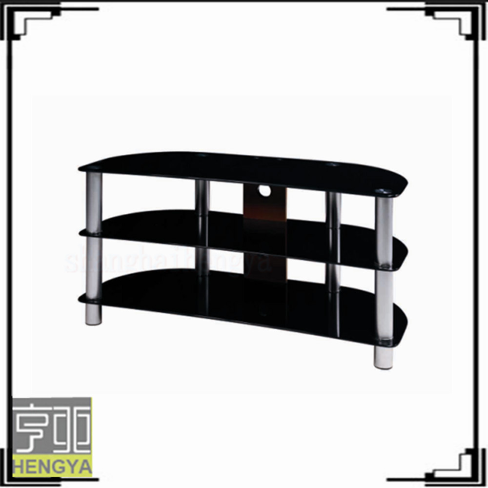 black painted legs 4 shelf glass tv stand