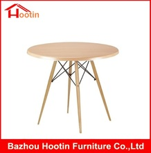 New Type No Folding Modern Living Room Dining Room Furniture Nature Color Solid Wood Four Legs Round Wooden Dining Table Designs