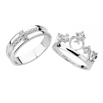 New Design Silver Jewelry King And Queen Crown Zircon Wedding Ring